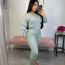 Solid Knitted Sweater And Pants Two Piece Sets PN-6270