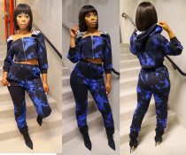 Trendy Printed Hooded Zipper Two Piece Sets MX-10837