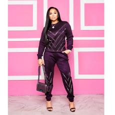 Hot Drilling Casual Long Sleeve Two Piece Sets FNN-8340