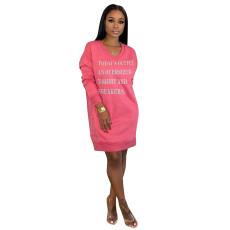 Letter Print V Neck Casual Sweatshirt Dresses MEM-8247