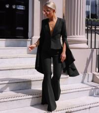 Plus Size Blazer Coat Flare Pants 2 Piece Suits LSL-8021