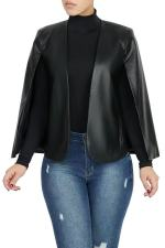 PU Leather Cloak Sleeves Black Jacket Coat OD-8330