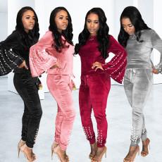 Trendy Beading Long Sleeve Velvet Two Piece Suits PN-6283
