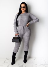 Solid Knitted Long Sleeves Two Piece Pants Set MA-290