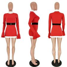 Christmas Flare Sleeves Party Club Costume Mini Dress NM-8086