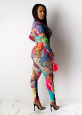 Trendy Printed Blazer Tops Long Pants 2 Piece Suits CL-6040