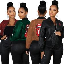 Casual Sequins Lips Print Zipper Jacket Coats WY-6638