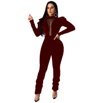 Sexy Velvet Mesh Patchwork Puff Sleeves Jumpsuits MEI-9071