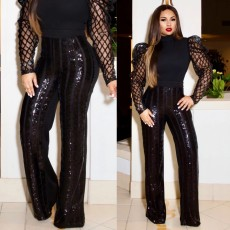 Glitter Sequin Elastic Waist Long Straight Pants WY-6650