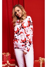 Christmas Santa Claus Printed Long Sleeve Pullover Tops WY-6490