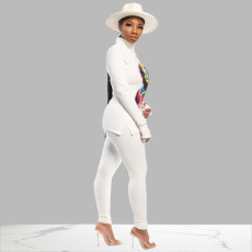 Casual Printed Long Sleeves Two Piece Pants Suit MEI-9072