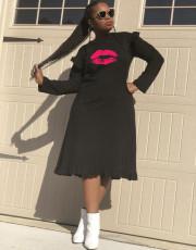 Lips Printed Ruffles Long Sleeves Black Midi Dresses RSN-723