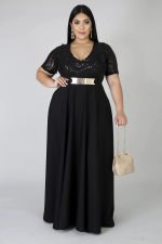 Big Size 5XL Sexy Sequins Patchwork Black Maxi Dress YIF-1092