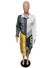 Casual Patchwork Turndown Collar Shirt Dresses QZX-6101