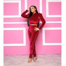 Solid Backless Long Sleeves Two Piece Pants Suit MYP-8905