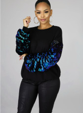 Casual Sequins Patchwork Long Sleeves Pullover Tops YH-5124