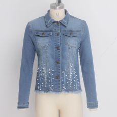 Casual Pearls Long Sleeves Denim Jacket Coat SMR-9511