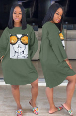 Casual Long Sleeves Printed Loose Dresses LM-8108