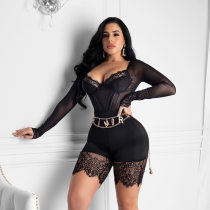 Sexy Lace See Through Low Cut Playsuit OSM-5361