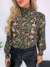 Leopard Print High Collar Long Sleeves Chiffon Tops FNN-8345