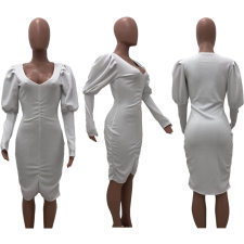 Sexy V Neck Lantern Sleeves White Bodycon Dress OJS-9181
