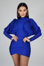 Sexy Long Sleeve Ruched Irregular Mini Dress YH-5127