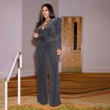 Sexy V Neck Long Sleeve Belted Jumpsuits SMR-9529