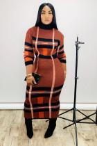 Plaid Print Turtleneck Long Sleeves Maxi Dresses YS-8501