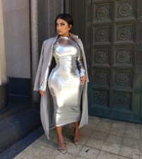 Sexy Shiny Long Sleeves Bodycon Midi Dresses MK-2049