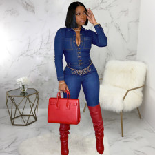 Plus Size Denim Long Sleeve Skinny Jeans Jumpsuits SMR-9531