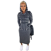 Casual Striped Hooded Long Sleeve Maxi Dress YM-9188