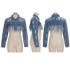 Sexy Tassel Long Sleeve Short Denim Jacket Coat SMR-9522
