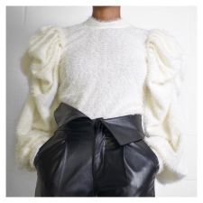 Trendy Knitted Puff Sleeve Pullover Sweater Tops FNN-8347