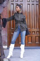 Trendy Flare Sleeve Cold Shoulder Zipper Tops FNN-8344