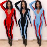Contrast Color Long Sleeve Skinny Activewear Jumpsuit MEI-9076