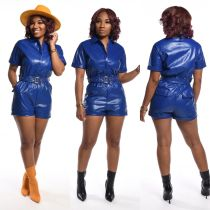 PU Leather Short Sleeve Zipper Rompers With Belt BS-1157