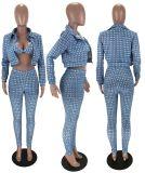 Sexy Printed Short Jacket+Bra+Pants 3 Piece Sets MX-10865