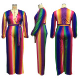 Plus Size Colorful Stripe V Neck Sashes Jumpsuits ME-5081