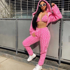 Sexy Fuzzy 3 Piece Sets Hooded Top+Bra+Pants BN-9223