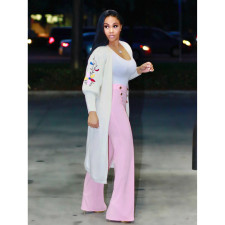 Casual EmbroideryFull Sleeve Maxi Cardigan Coat MOY-5166