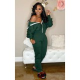 Plus Size Solid Hooded Zipper Casual Two Piece Sets CL-6037