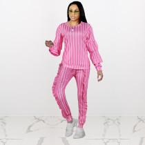 Casual Stripe Print Ruffles Two Piece Outfits NIK-085