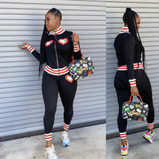 Casual Tracksuit Zipper Long Sleeve 2 Piece Pants Set JH-128