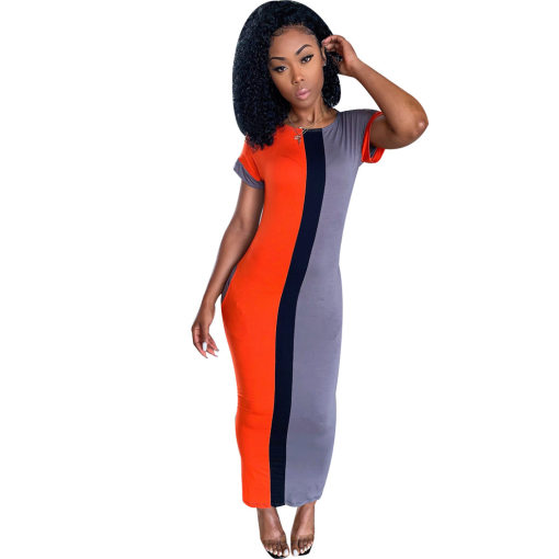 Contrast Color O Neck Short Sleeve Maxi Dress SFY-065