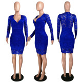 Sexy Lace V Neck Long Sleeve Bodycon Dress MYP-8906