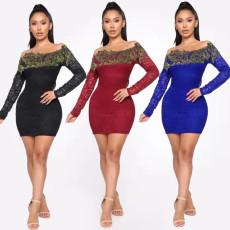 Sexy Slash Neck Lace Bodycon Mini Dress LA-3166