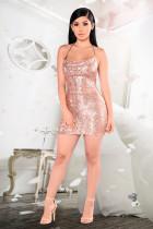 Sexy Sequin Spaghetti Strap Backless Mini Club Dresses LX-8917
