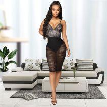 Sexy V Neck Spaghetti Strap Lace Club Dress LX-3078