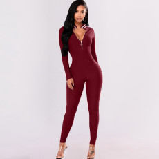 Hot Sale Slim Zip Striped Jumpsuit BGN-028
