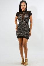 Sexy Backless Short Sleeve Lace Mini Dress LX-9861